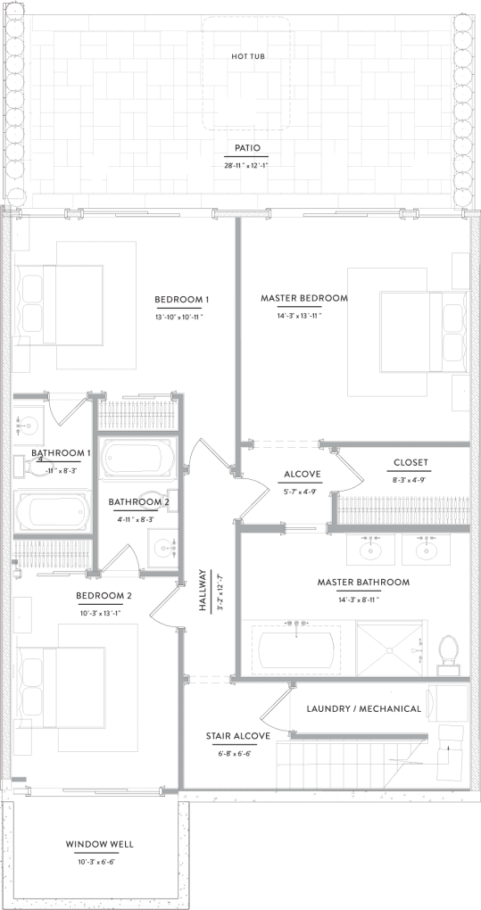 A floor plan for one of the Gurney's residences.