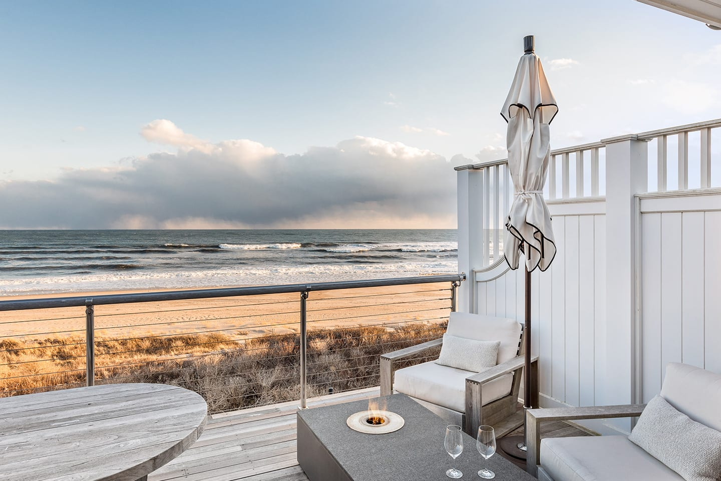 Salt Sea 5 deck with fire pit and views of the ocean