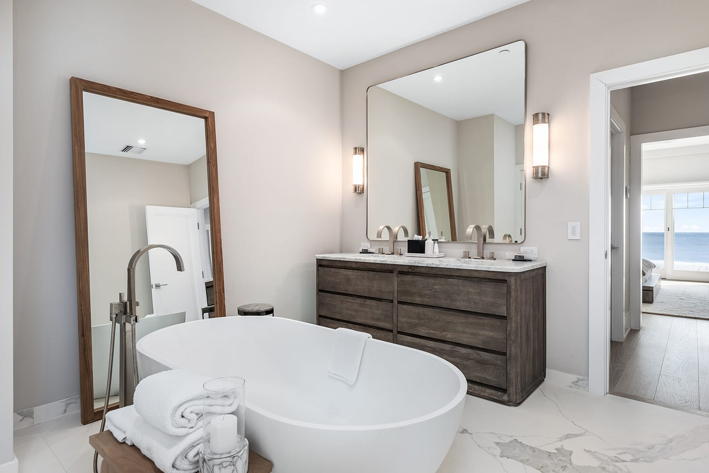Salt Sea 5 Bathroom with marble floors and freestanding bathtub